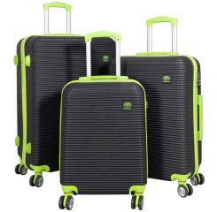 Cestovní kufr ABS SANTORIN BLACKGREEN BRIGHT malý S