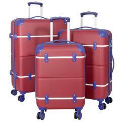 Cestovní kufry ABS sada BERLIN II L,M,S RED BRIGHT