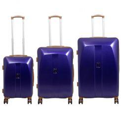 Cestovní kufry ABS sada Bruggy L,M,S modré MONOPOL E-batoh