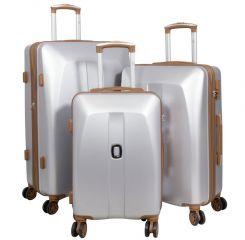 Cestovní kufry ABS sada Bruggy L,M,S stříbrné