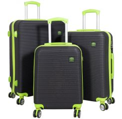 Cestovní kufry ABS sada SANTORIN L,M,S BLACKGREEN BRIGHT