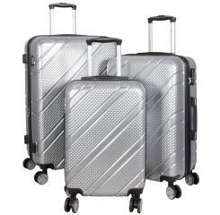 Sada 3ks polykarbonátových cestovních kufrů BILBAO L,M,S stříbrná