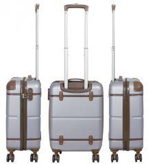 Cestovní kufr ABS BERLIN II SILVER BRIGHT malý S MONOPOL E-batoh