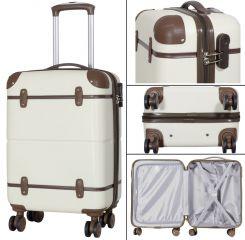 Cestovní kufr ABS BERLIN II BEIGE BRIGHT malý S MONOPOL E-batoh