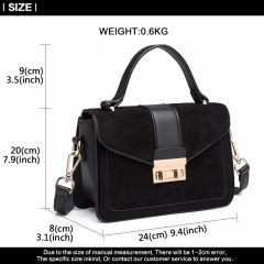 Stylová černá menší dámská kabelka Miss Lulu Lulu Bags (Anglie) E-batoh