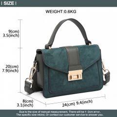 Stylová zelená menší dámská kabelka Miss Lulu Lulu Bags (Anglie) E-batoh