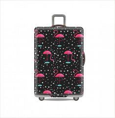 Elastický obal PLAMEŇÁCI na střední cestovní kufr M