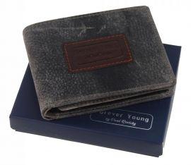 Šedá pánská kožená peněženka v krabičce RFID Forever Young