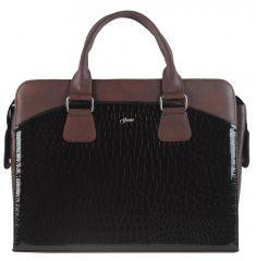 """Dámská luxusní taška na notebook hnědý lak kroko ST01 15.6"""" GROSSO"""