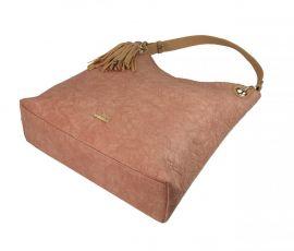 Moderní velká lososová kabelka s potiskem květin 4257-TS Tessra E-batoh