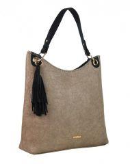 Moderní velká pastelová hnědá kabelka s potiskem květin 4257-TS Tessra E-batoh