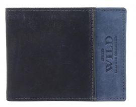 Modrá pánská kožená broušená peněženka v krabičce WILD E-batoh