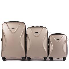 Cestovní kufry sada WINGS 518 ABS+TSA CHAMPAGNE L,M,S