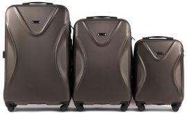 Cestovní kufry sada WINGS 518 ABS+TSA COFFEE L,M,S