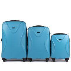 Cestovní kufry sada WINGS 518 ABS+TSA CYAN L,M,S