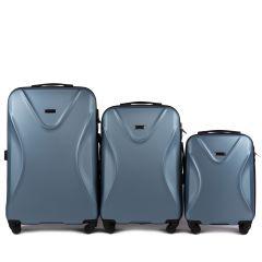 Cestovní kufry sada WINGS 518 ABS+TSA SILVER BLUE L,M,S