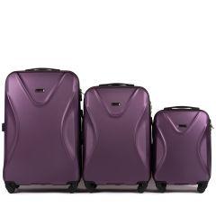 Cestovní kufry sada WINGS 518 ABS+TSA DARK PURPLE L,M,S