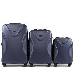 Cestovní kufry sada WINGS 518 ABS+TSA DARK BLUE L,M,S