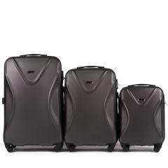 Cestovní kufry sada WINGS 518 ABS+TSA DARK GREY L,M,S