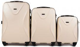 Cestovní kufry sada WINGS 518 ABS+TSA DIRTY WHITE L,M,S E-batoh
