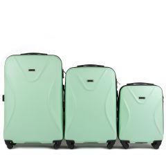 Cestovní kufry sada WINGS 518 ABS+TSA LIGHT GREEN L,M,S