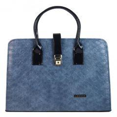 Luxusní modrá kroko dámská aktovka S563 GROSSO