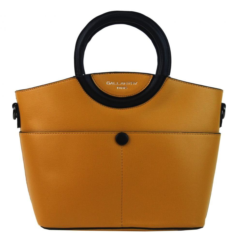 Moderní menší dámská kabelka do ruky hořčicová žlutá GALLANTRY E-batoh dd90f755f8