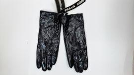 zimní kožené rukavice černé