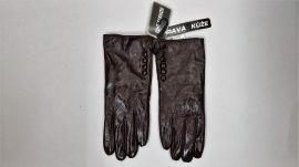 zimní kožené rukavice hnědé