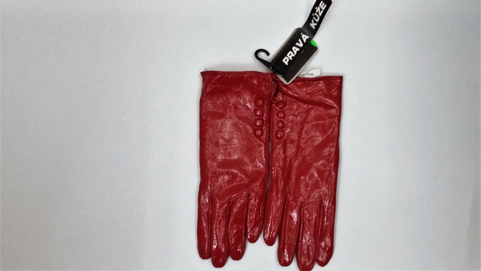 zimní kožené rukavice červené