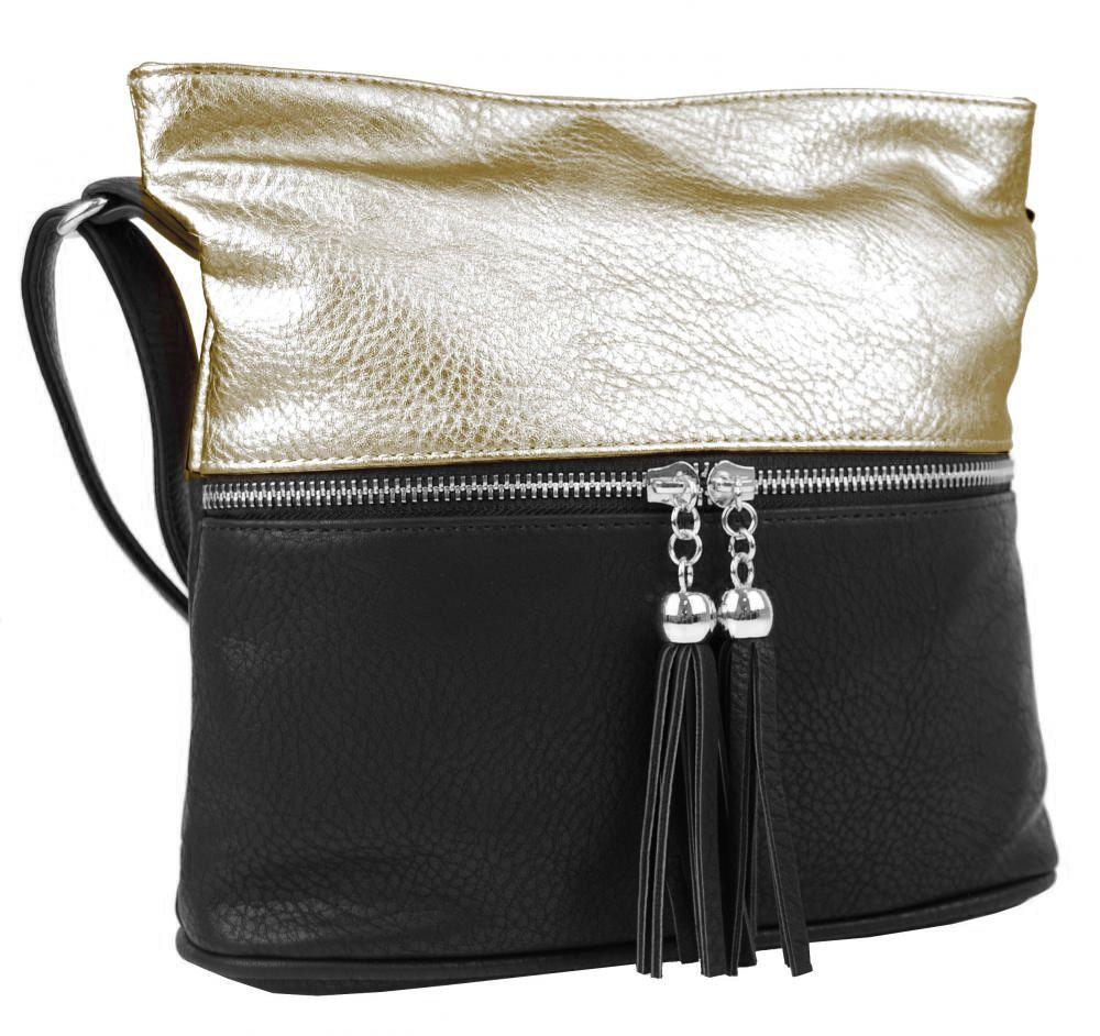 Malá crossbody kabelka se stříbrným zipem NH6020 černo-zlatá