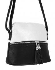 Malá crossbody kabelka se stříbrným zipem NH6021 černo-bílá NEW BERRY E-batoh