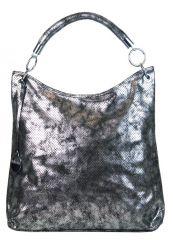Moderní velká metalická kabelka přes rameno 665-MH stříbrná patina