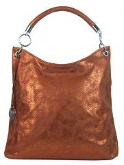 Moderní velká metalická kabelka přes rameno 665-MH měděná