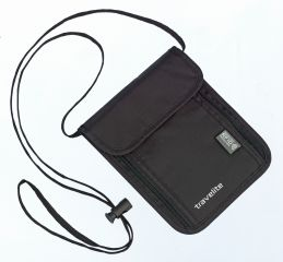 Bezpečnostní peněženka na krk s ochranou RFID Travelite Neck pouch RFID Black