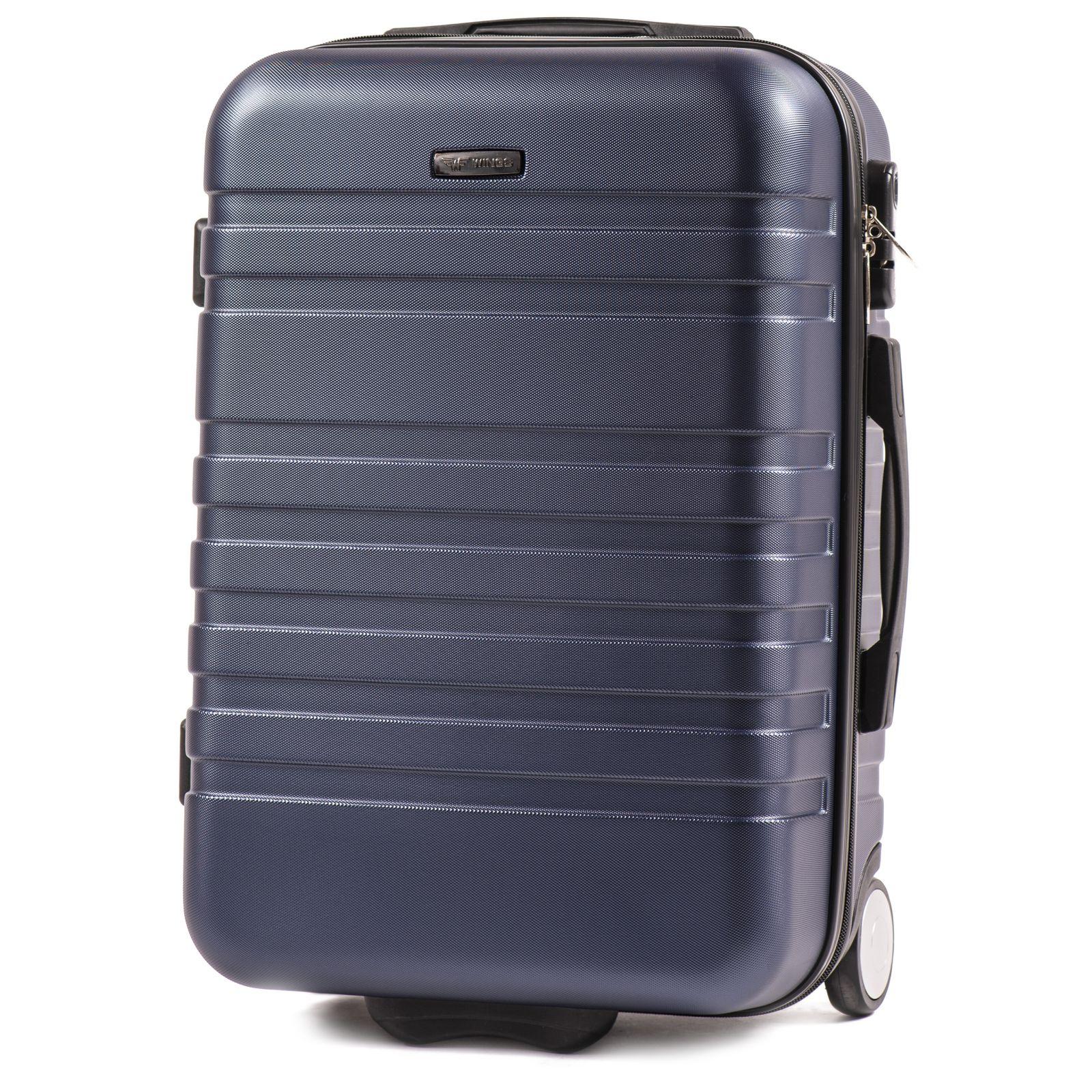 Cestovní kufr WINGS 5186 ABS 2w DARK BLUE malý S E-batoh