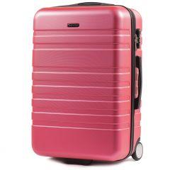 Cestovní kufr WINGS 5186 ABS 2w  ROSE RED střední M