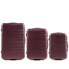 Cestovní kufry sada WINGS 5186 ABS 2w  BURGUNDY L,M,S
