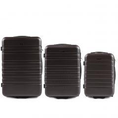 Cestovní kufry sada WINGS 5186 ABS 2w  DARK GREY L,M,S