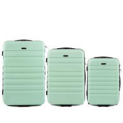 Cestovní kufry sada WINGS 5186 ABS 2w  LIGHT GREEN L,M,S