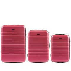 Cestovní kufry sada WINGS 5186 ABS 2w  ROSE RED L,M,S