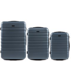 Cestovní kufry sada WINGS 5186 ABS 2w  SILVER BLUE L,M,S