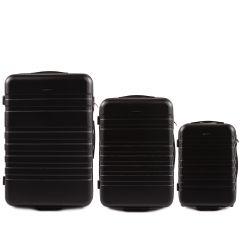 Cestovní kufry sada WINGS 5186 ABS 2w  BLACK L,M,S