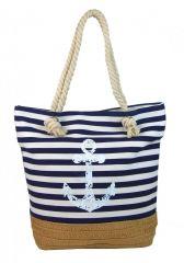 Modro-bílá lehká plážová taška s kotvou 068-2