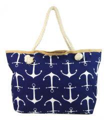 Velká tmavě modrá lehká plážová taška přes rameno H-106-2