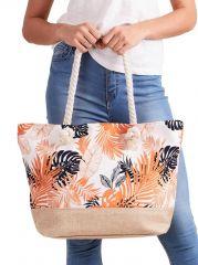 Letní lehká plážová taška oranžová s lístky XP-B