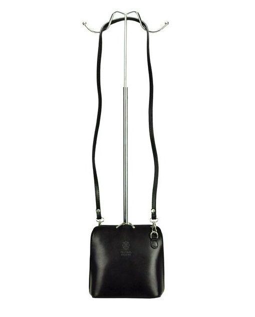d07097554 Kožená malá dámská crossbody kabelka černo-červená Diva E-batoh
