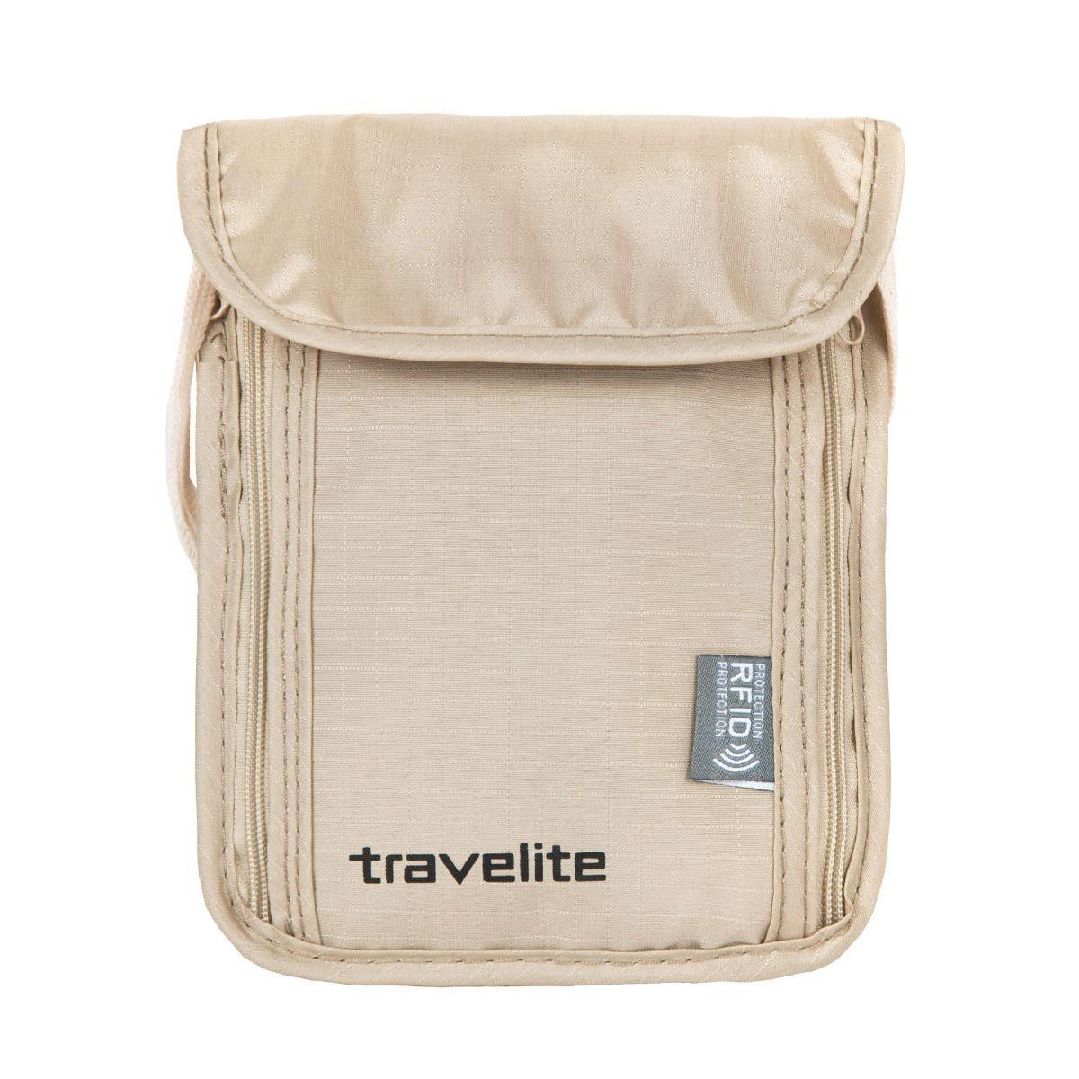 Bezpečnostní peněženka na krk s ochranou RFID Travelite Neck pouch RFID Beige