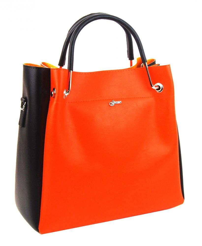 Oranžová elegantní dámská kabelka S728 GROSSO
