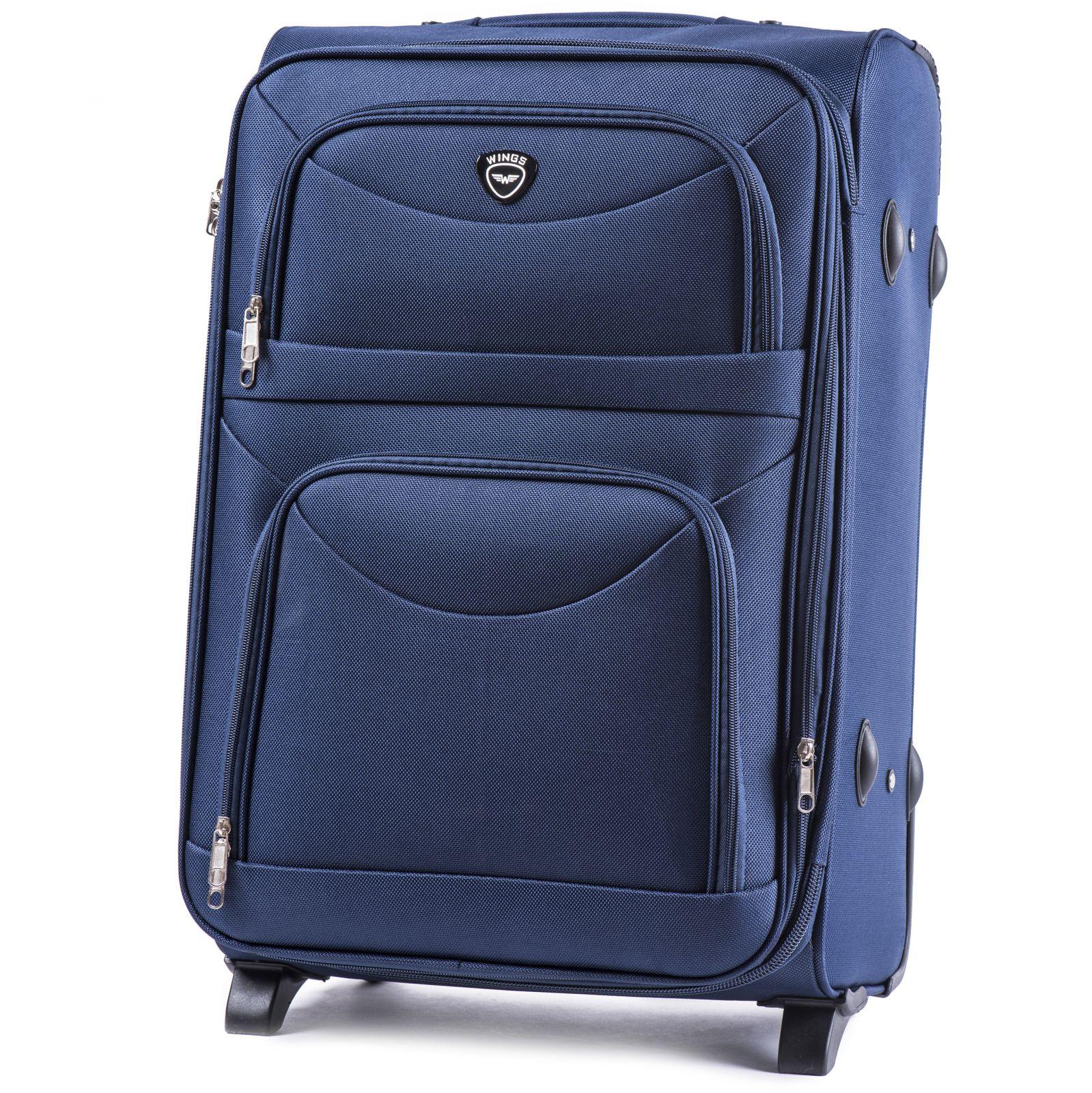 Cestovní kufr WINGS 6802 BLUE střední M E-batoh